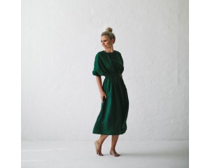 Seaside Tones Linen Dress Green M/L