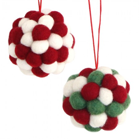 Fairtrade Felt Christmas Decoration - Ball Baubles