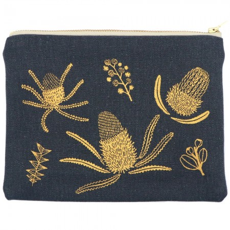 One Thousand Lines Pouch - Gold Banksia