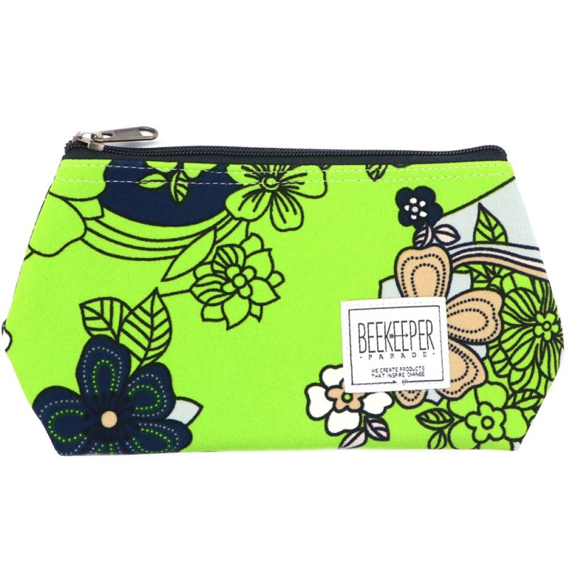 Beekeeper Parade Makeup Bag Small Lime Green Floral