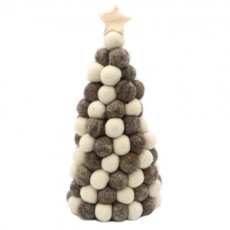 Fairtrade Christmas Decoration Felt Ball Standing Tree - Grey Natural