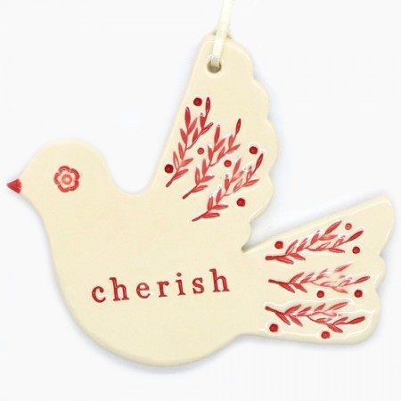 Kylie Johnson Ceramic Christmas Decoration - Bird with Word (choose from selection)