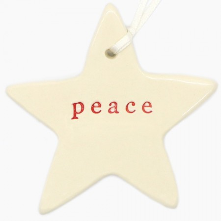 Kylie Johnson Ceramic Christmas Word Star - Peace