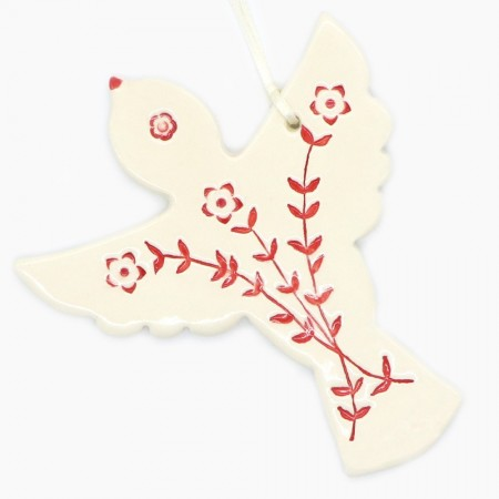 Kylie Johnson Ceramic Christmas Decoration - Bird with Wings 'Flowers'