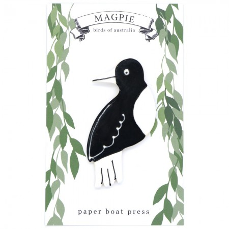 Paper Boat Press Birds of Australia Ceramic Magnet - Magpie