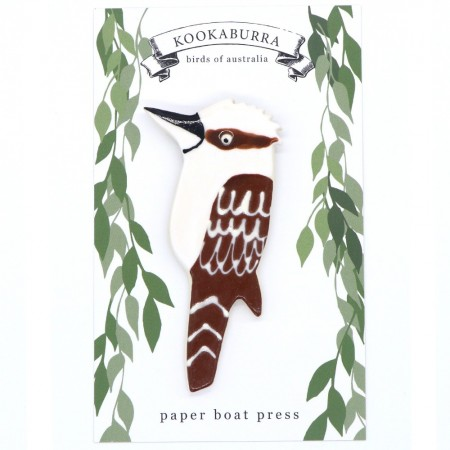 Paper Boat Press Birds of Australia Ceramic Magnet - Kookaburra