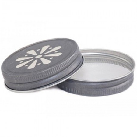 Ball mason lid - daisy cut pewter (1)