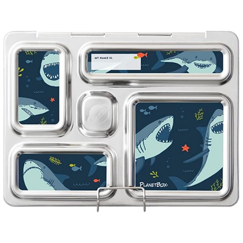 PlanetBox Rover Kit SHARKS (Box, Containers, Magnets, Carry Bag)