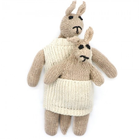 Knit for Life Knitted Cotton Toy - Kangaroo & Joey Large