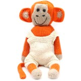Knit for Life Knitted Cotton Toy - Monkey Large Orange