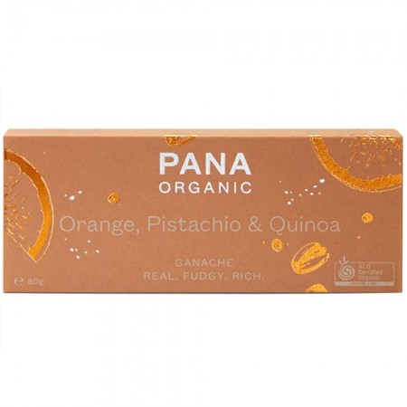 Pana Organic Chocolate Ganache Bar 80g - Orange, Pistachio & Quinoa
