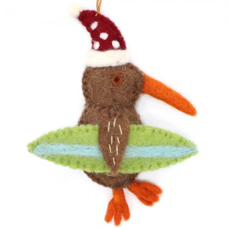 Fairtrade Felt Christmas Decoration - Kiwi Bird with Surfboard