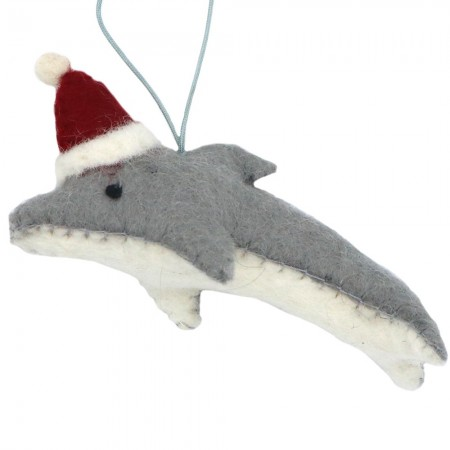Fairtrade Felt Christmas Decoration - Dolphin with Hat