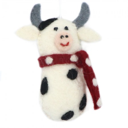 Fairtrade Felt Christmas Decoration - Cow with Scarf