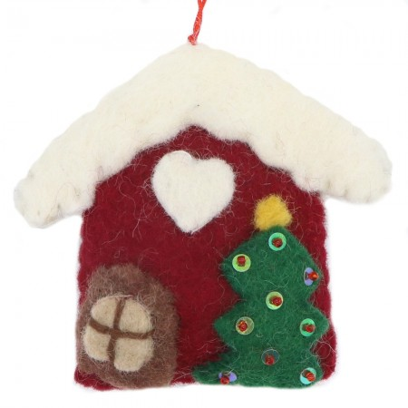 Fairtrade Felt Christmas Decoration - House with Tree