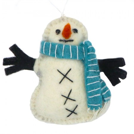 Fairtrade Felt Christmas Decorations - Snowman with Scarf