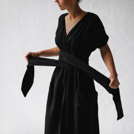 Seaside Tones Wrap Dress - Black