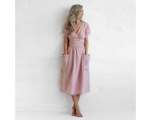 Seaside Tones Wrap Dress - Pink