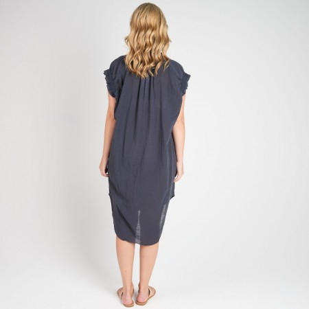 Torju Indented Heads Dress Indigo