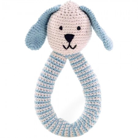 Pebble Crochet Bunny Ring Rattle - Blue