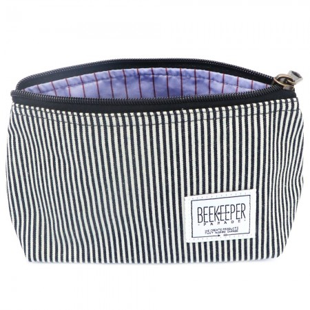 Beekeeper Parade Makeup Bag Small Black White Stripe