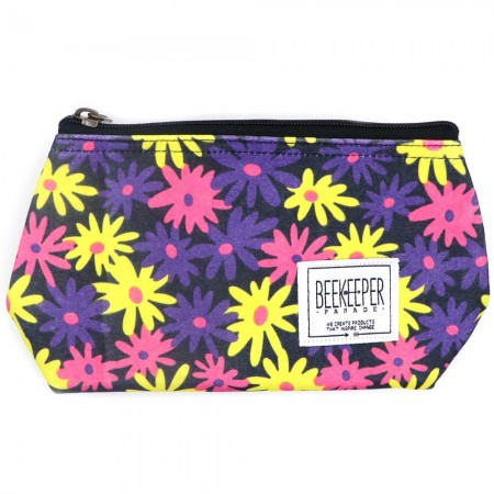 Beekeeper Parade Makeup Bag Small Pink Purple Yellow Floral