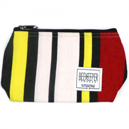 Beekeeper Parade Makeup Bag Small Red Black Yellow Stripes