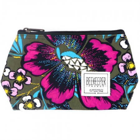 Beekeeper Parade Makeup Bag Small Purple Blue Floral