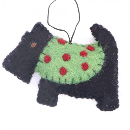 Fairtrade Felt Christmas Decoration - Scottish Terrier