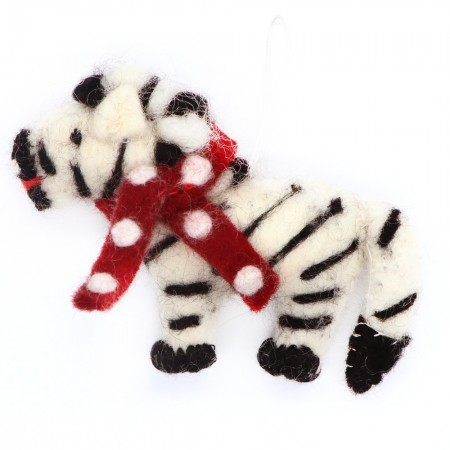 Fairtrade Felt Christmas Decoration - Zebra with Scarf