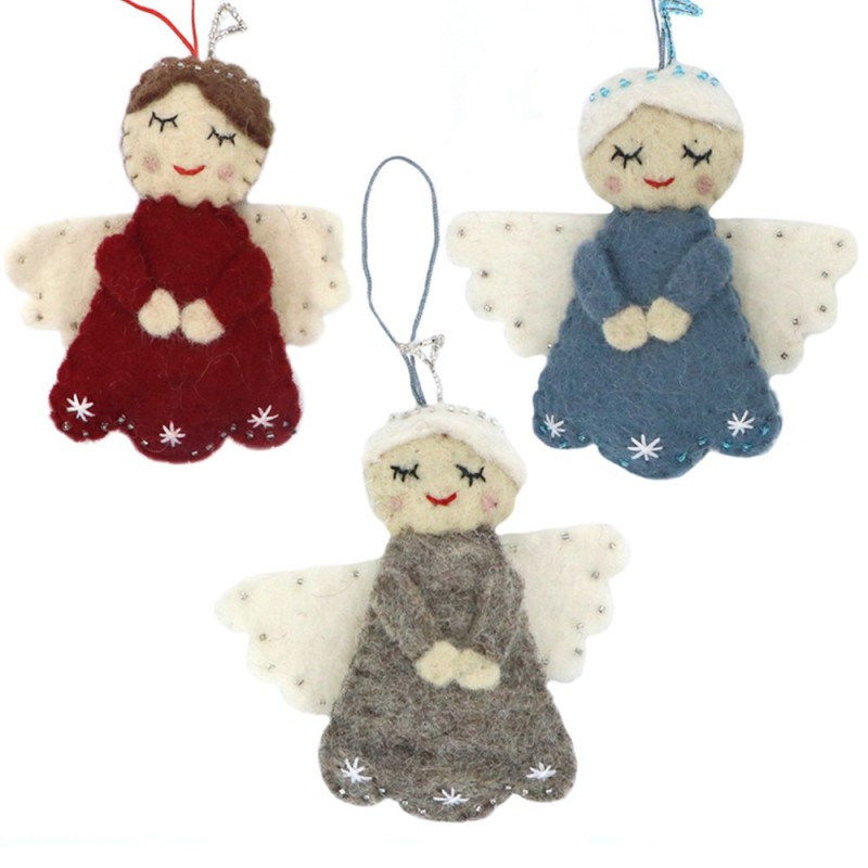Fairtrade Felt Christmas Decoration - Angel with Halo Red