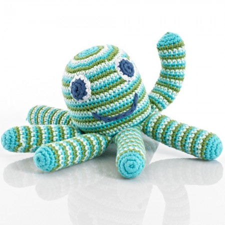 Pebble Organic Cotton Crochet Octopus Rattle - Deep Green