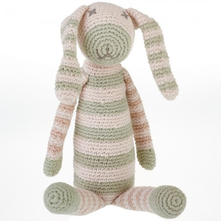 Pebble Organic Cotton Crochet Bunny Rattle - Teal