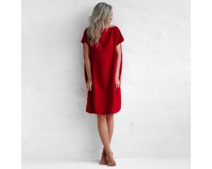 Seaside Tones Short Linen Dress - Dusty Red