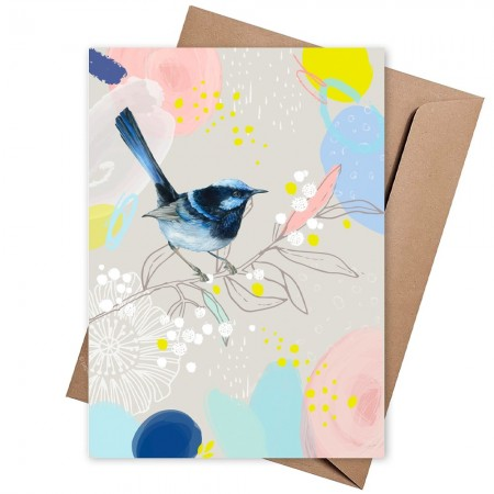 The Linen Press Greeting Card - Wild Blue Wren