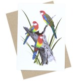 The Linen Press Greeting Card - Eastern Rosellas