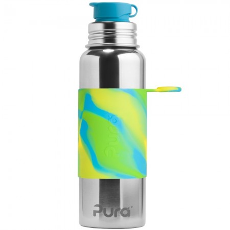 Pura Kiki Stainless Steel Sport Bottle 850ml - Aqua Swirl