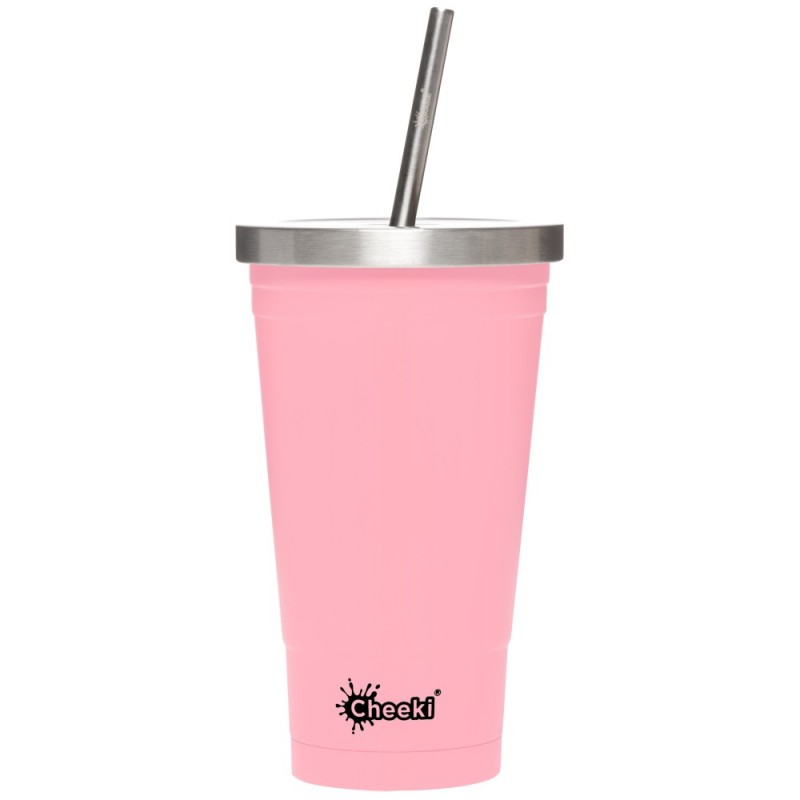 Cheeki Insulated Stainless Steel Tumbler with Straw 500ml - Pink