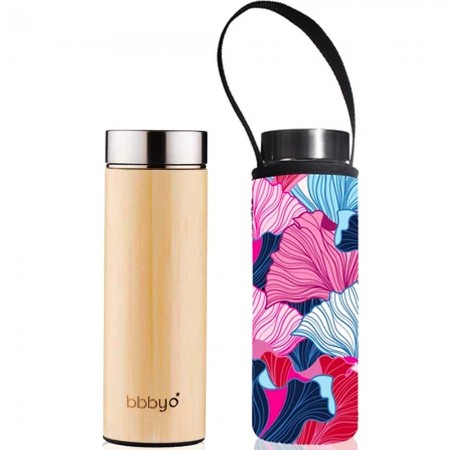 BBBYO Bamboo & Stainless Steel Tea Flask 500ml - Fan