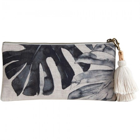 Audrey Gachet Linen Clutch - Monstera