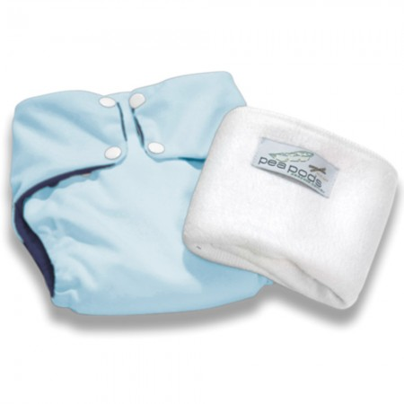Pea Pods One Size Nappy - Pastel Blue