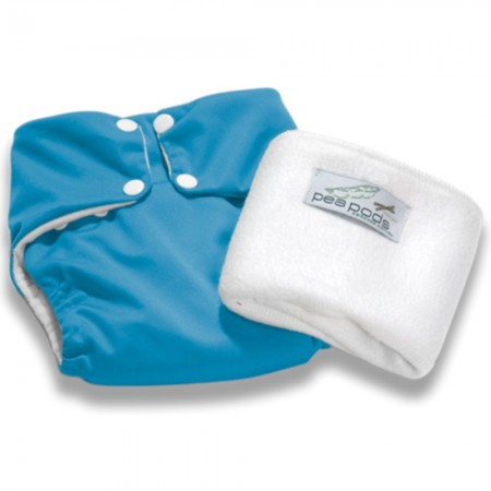 Pea Pods One Size Reusable Nappy - Aqua Blue