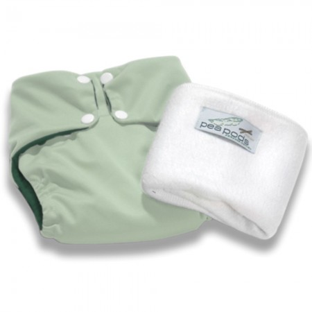 Pea Pods One Size Nappy - Pastel Green