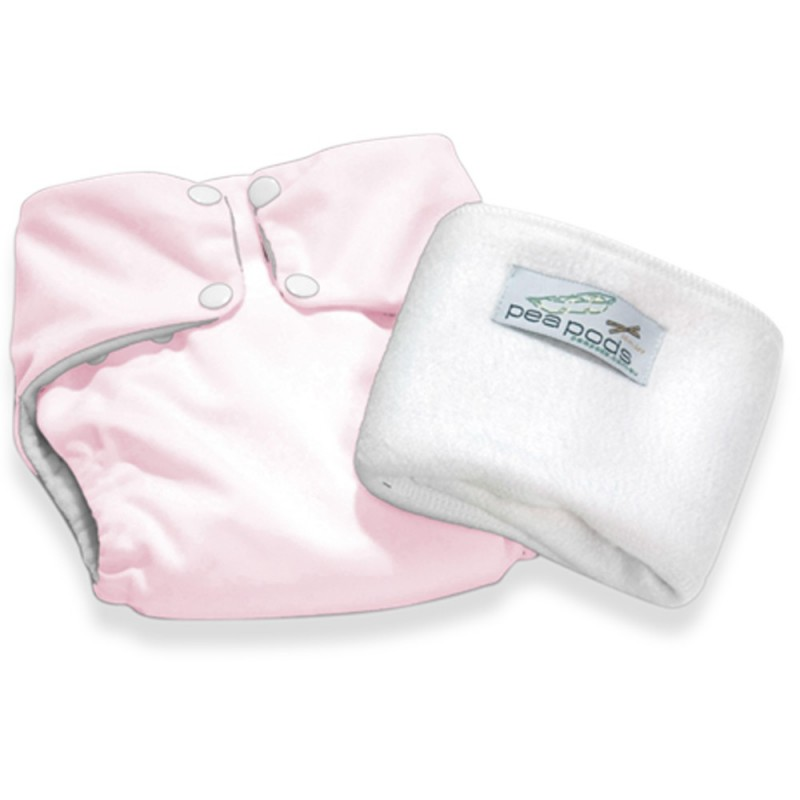 Pea Pods One Size Nappy - Pastel Pink