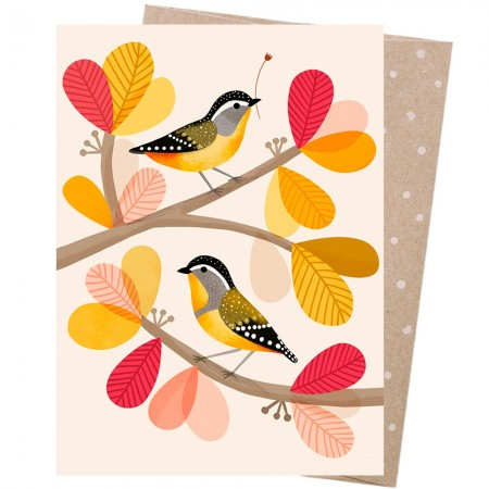 Earth Greetings Card - Peeking Pardalotes