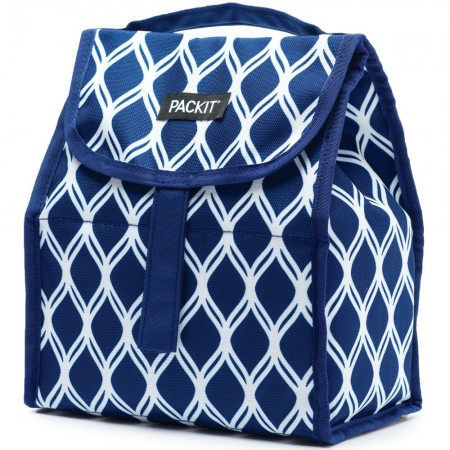 Packit Freezable Lunch Sack - Navy Waves