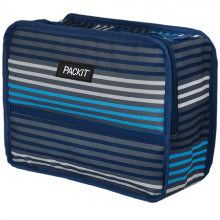 Packit Freezable Classic Lunch Box - Blue Grey Stripe