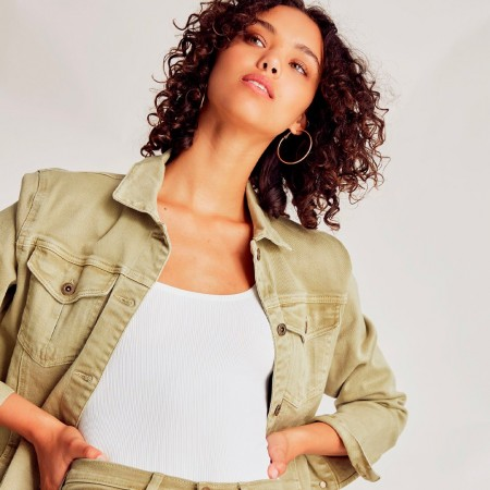 Outland Denim Jacket Ava Relaxed Style - Olive