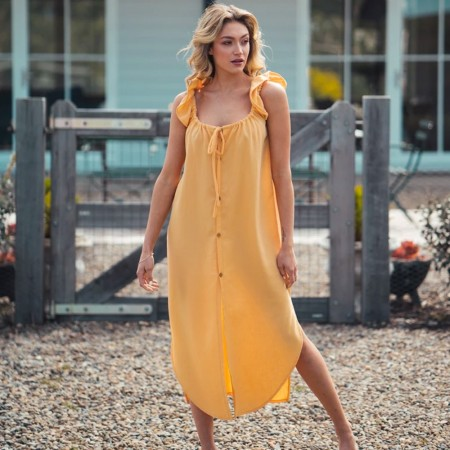 Indecisive Linen Bessie Dress - Yellow