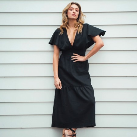 Indecisive Chicago Linen Dress - Black